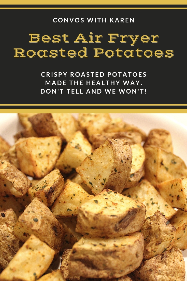 Healthy, easy air fryer roasted potatoes are a great side dish made with russet potato cubes.