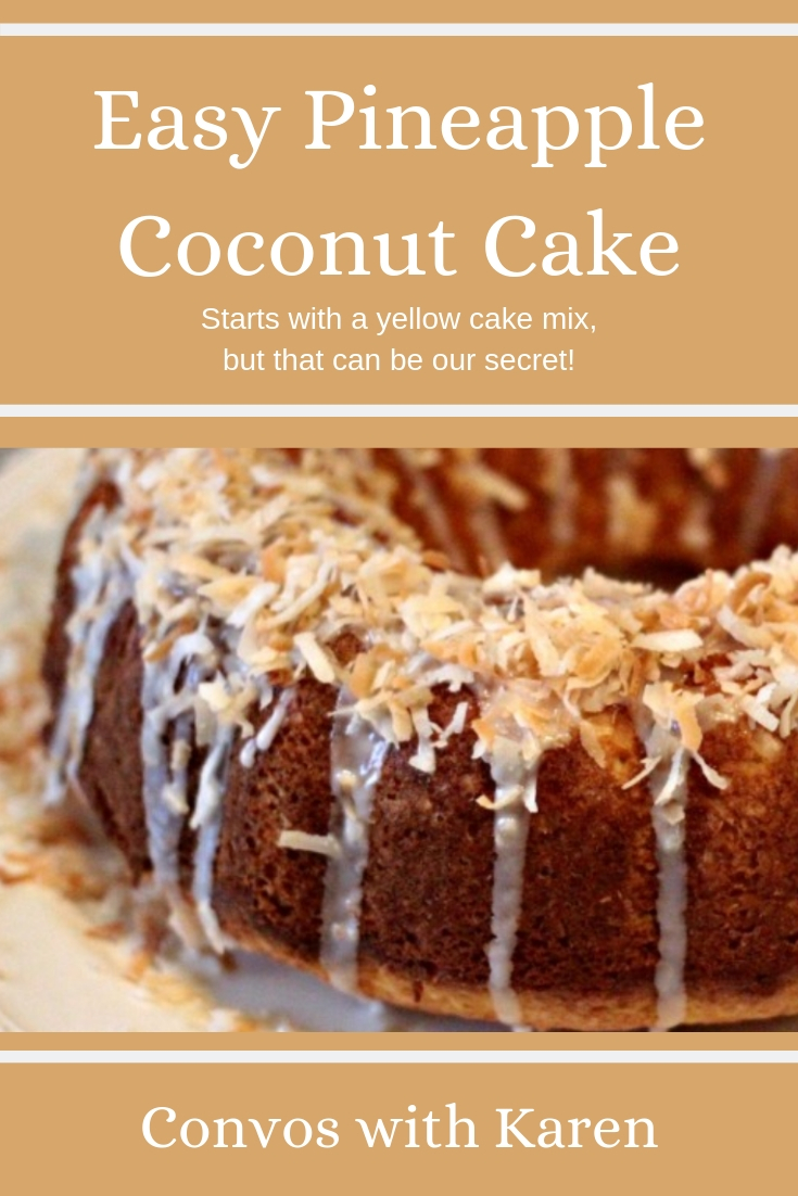 This pineapple coconut cake is a doctored cake mix recipe. It's a great springtime dessert that is easy to make, quick, and beautiful! Great for holidays, picnics, pot lucks -- or just to make Tuesdays feel special. #cakemixcakes #doctoredcakemix #pineapplecoconutcake #pineapple #coconut #quickdesserts #easyrecipes