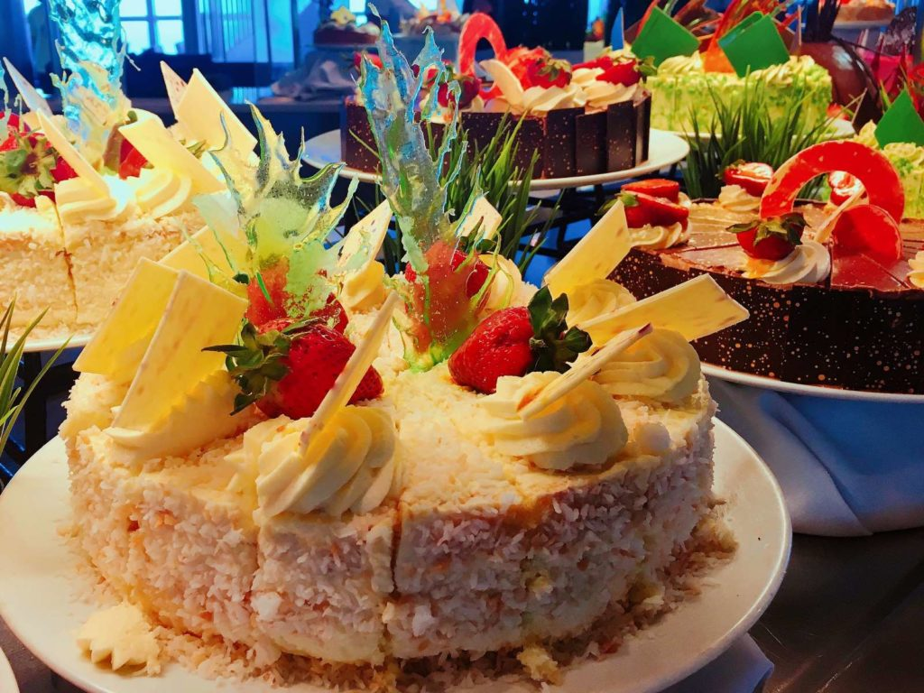Coconut cake with over the top decorations