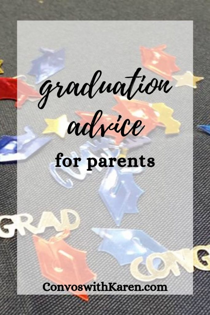 Graduation advice for parents with confetti background of graduation caps