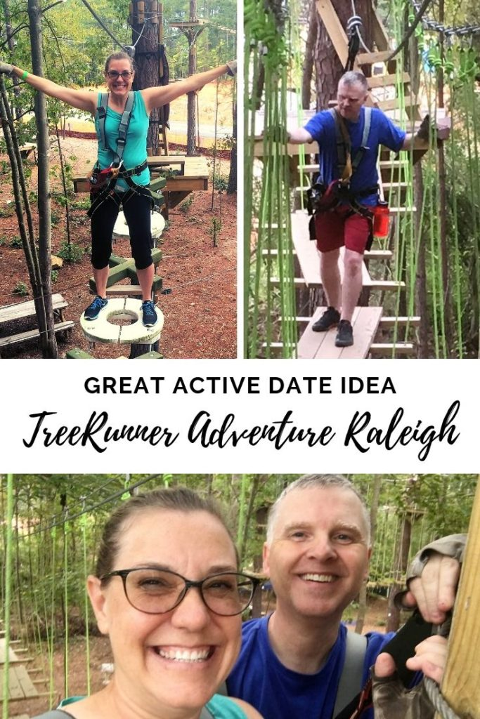 Title images for TreeRunner Raleigh Adventure, with Rob, me and the two of us smiling