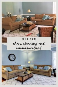 Before and after photos: Cluttered living room and clean living room