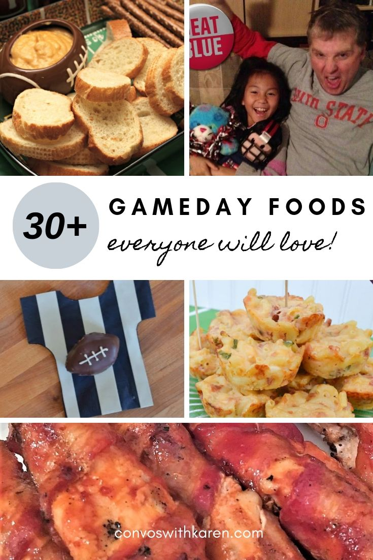 Gameday foods for football parties and tailgating. This collection of easy recipes will please any crowd and get you out of the kitchen to enjoy the game (or the commercials). #gamedayfoods #gamedayfoodsforacrowd #gamedayfoodscrockpot #partyappetizers #gamedaypartyfoodrecipes #superbowlfoodideas