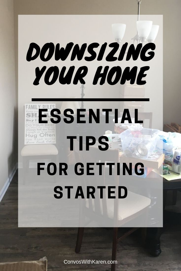 Downsizing your home starts with knowing when it's time to go. Then, use these tips to prepare yourself to live in a smaller space before you even move. #downsizing #downsizingyourhome #downsizingtips #howtodownsizeyourhome #tipsfordownsizing #simpleliving #moneymatters #simplify #midlife #lifestylechanges