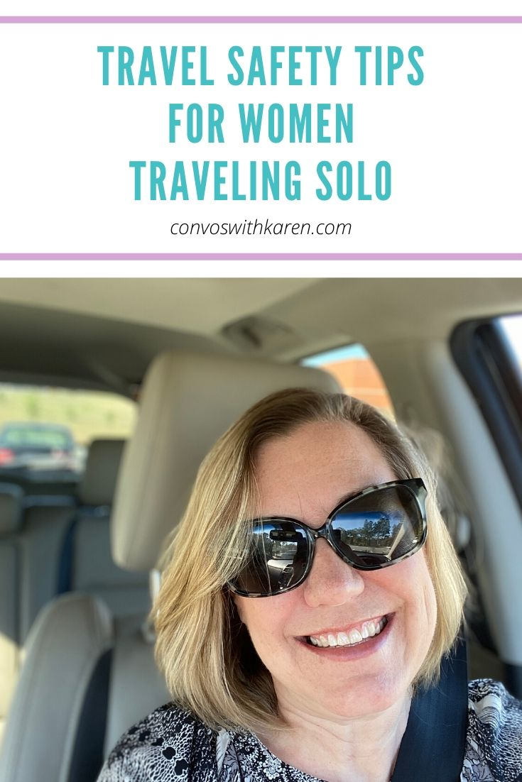 Use these travel safety tips when traveling solo -- be aware, be safe, be smart! The world is yours to see! #solotravel #solotraveltips #travelsafety #travelsafetytips #travelsafetywoman #travelsafetyproducts #womentravel #womentravelessentials #midlifetravel