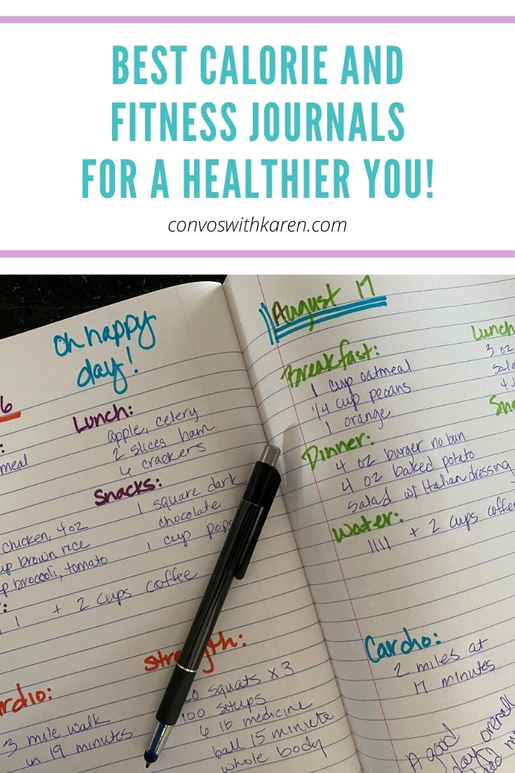 The best calorie tracker and fitness journals help you reach health goals by improving awareness and encouraging change. These easy to use, inexpensive journals can help you make lifelong choices for better health. #calorietracker #dailycalorietracker #calorietrackerbulletjournal #personalfitnessgoals #attainablefitnessgoals #midlifefitness #midlifehealthgoals #midlifewellness #beginnerfitnessgoals #convoswithkaren #betterhealth #healthyliving #newyearsresolution