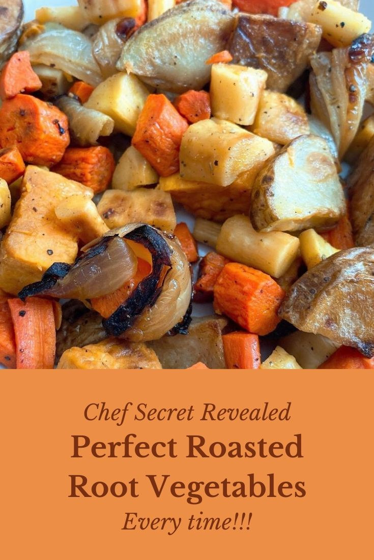 Perfect roasted root vegetables? What's the secret to perfect root vegetables every time? We've got the recipe and the chef tips for successful cooking every time. #roastedrootvegetables #healthyroastedrootvegetables #ovenroastedrootvegetables #ovenroastedpotatoes #thanksgivingroastedrootvegetables #rootvegetablerecipes #rootvegetablesrecipes #fallrecipes #convectionovenrecipes