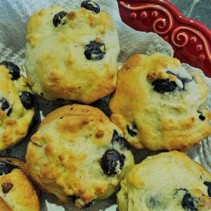 Greek Yogurt Blueberry Muffins on plate
