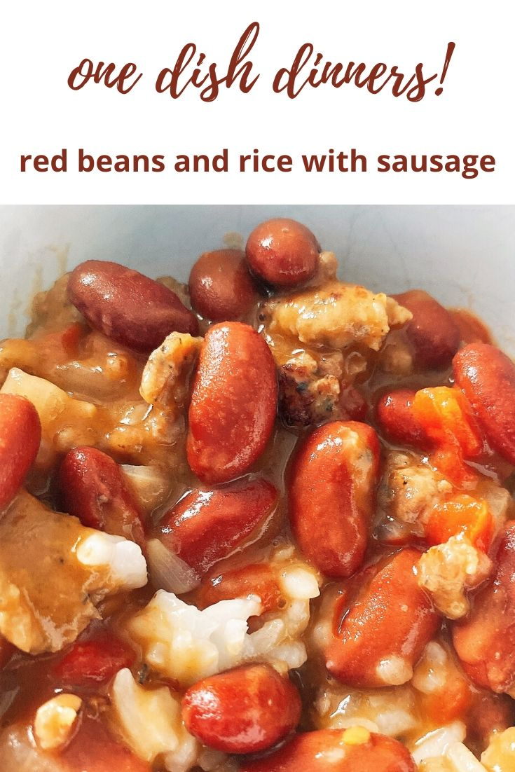 Easy one dish dinners -- this red beans and rice with sausage recipe is super easy to make. It's a tasty five ingredient dinner the whole family will enjoy. Change it up with different types of sausage. Use quinoa or other ancient grains instead of rice. Serve it over corn bread -- this versatile beans and sausage recipe is easy to cook, tastes great and is easy to clean up, too!