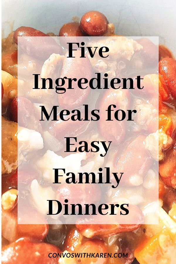 These 5 ingredient dinners for easy family meals make dinnertime planning easy. Using pantry staples this list includes chicken recipes, easy pork recipes, quick beef dinners, pasta dishes, vegetarian and vegan recipes. #quickdinners #familymeals #easyrecipes