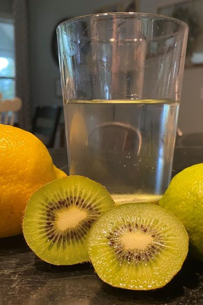 water glass and fruit