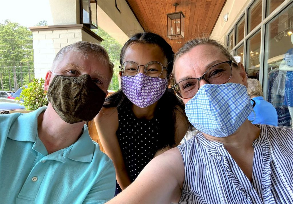 Outdoor dining at a restaurant with our masks before food arrived.