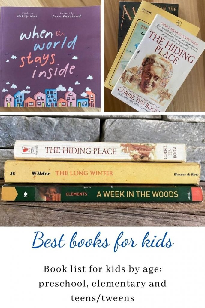 Collage of kids and teen book covers with overlay text that reads Best Books for kids: book list for kids by age: preschool, elementary and teens/tweens.