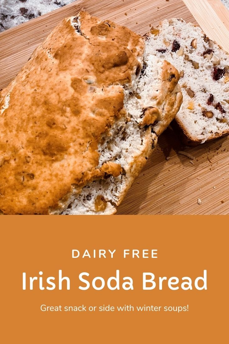 Dairy free Irish soda bread made with ginger beer, dried fruit and nuts. Great side dish, breakfast bread, or snack. Fun recipe for kids in the kitchen. Explore with food science.